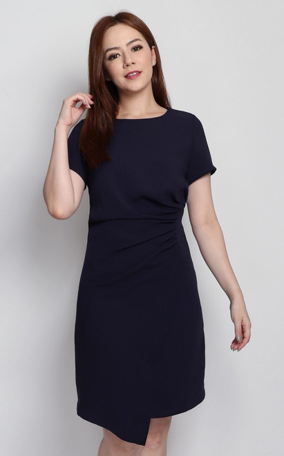 Side Ruched Dress - Navy
