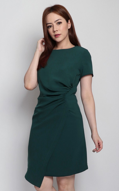 Side Ruched Dress - Forest Green