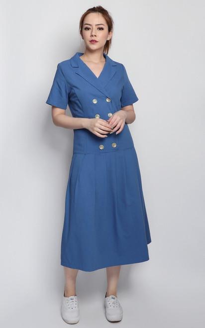 Tux Drop Waist Midi Dress