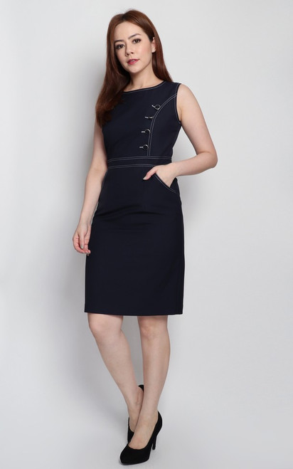 Contrast Stitch Pencil Dress - Navy