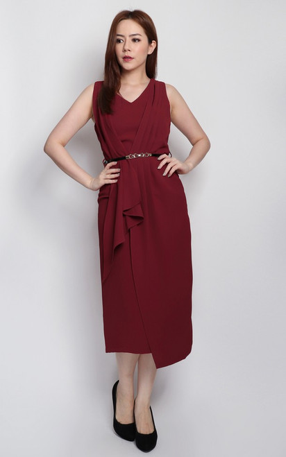 Asymmetrical Drape Dress - Burgundy