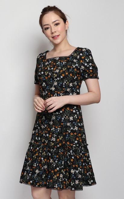 Floral Square Neck Dress