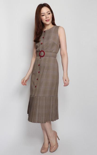 Checkered Pleated Hem Dress