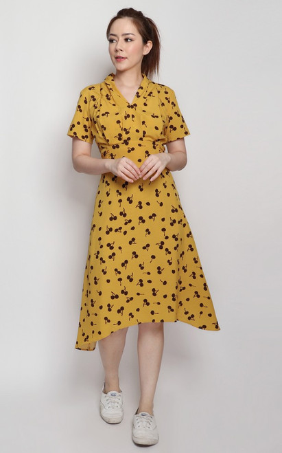 Printed Waist Tie Dress - Mustard