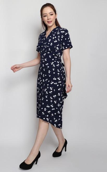 Printed Waist Tie Dress - Navy