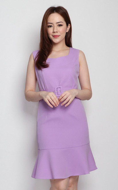 Sweetheart Neck Dress - Lilac