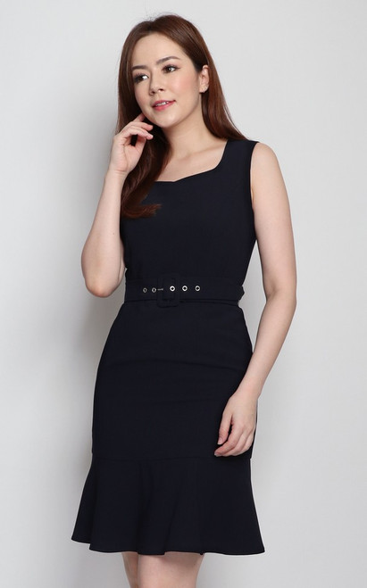 Sweetheart Neck Dress - Midnight Blue