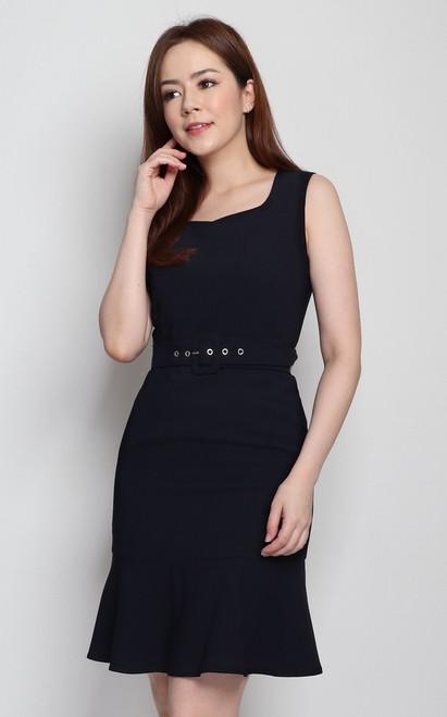 Sweetheart Neck Dress - Midnight Blue