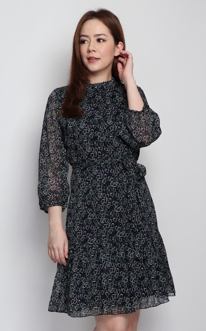 Printed Ruffle Hem Dress - Navy