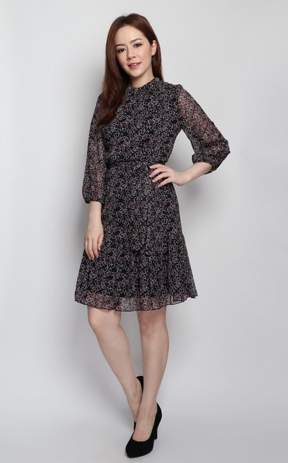 Printed Ruffle Hem Dress - Black