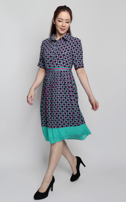 Chain Print Pleated Dress - Turquoise