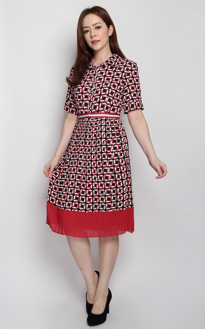 Chain Print Pleated Dress - Red