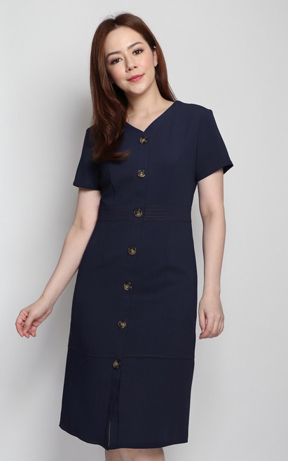 Stitched Buttons Dress - Navy