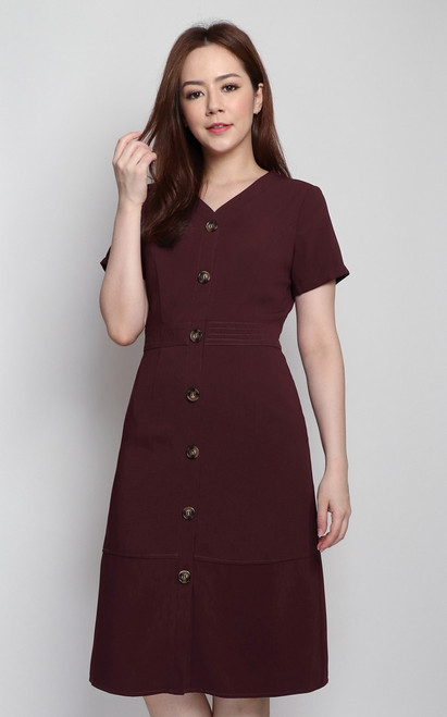 Stitched Buttons Dress - Wine