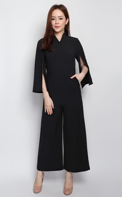 Cape Sleeves Jumpsuit - Black