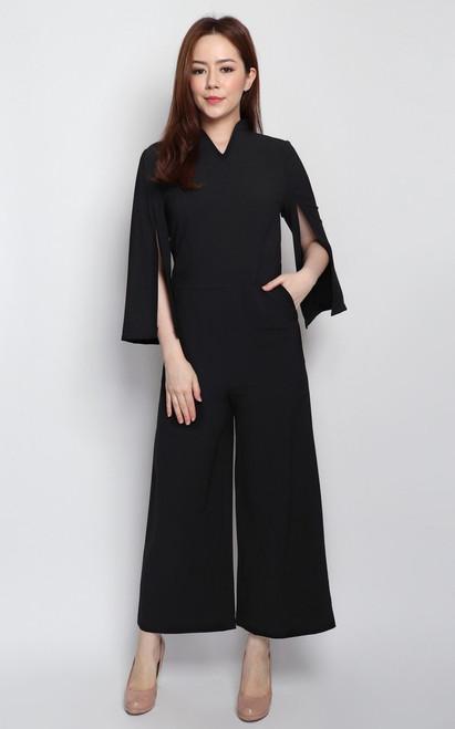 Cape Sleeves Jumpsuit - Black