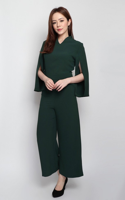 Cape Sleeves Jumpsuit - Forest Green