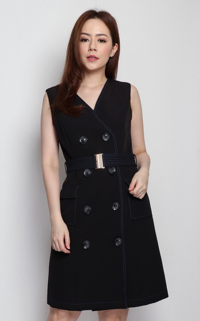 Contrast Stitch Trench Dress