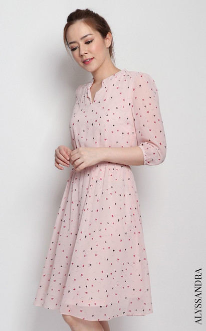 Heart Print Chiffon Dress - Pink