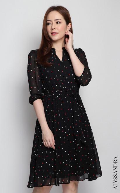 Heart Print Chiffon Dress - Black