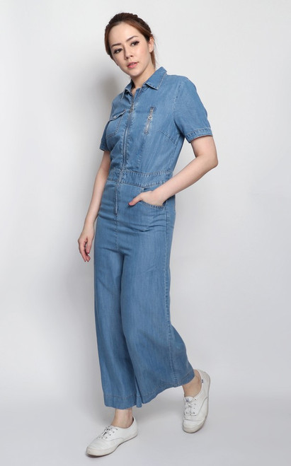 Zipper Denim Jumpsuit
