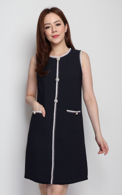 Rope Piped Dress - Midnight Blue