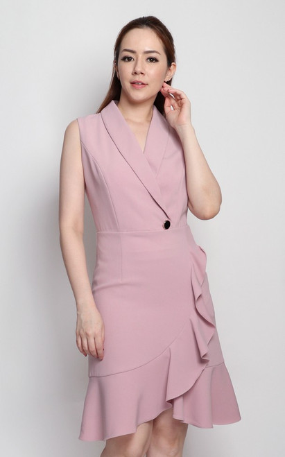 Ruffled Tux Dress - Dusty Pink
