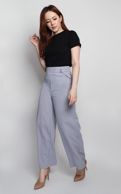 Side Buckle Pants - Dusky Blue