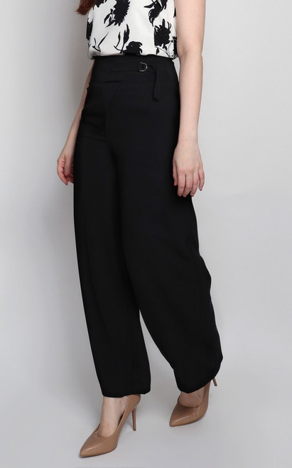 Side Buckle Pants - Black