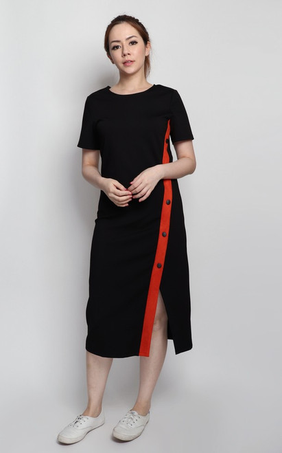 Contrast Suede Panel Dress - Black