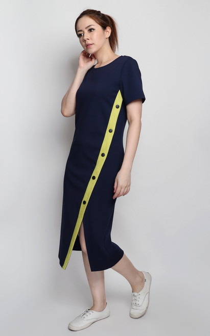 Contrast Suede Panel Dress - Navy
