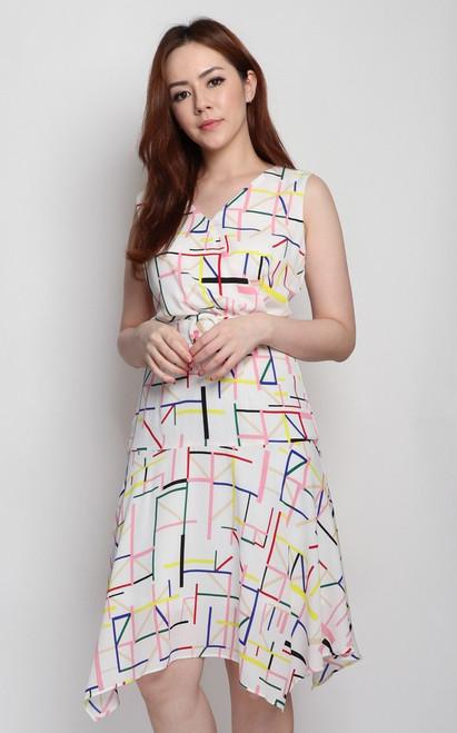 Matchstick Print Dress - White
