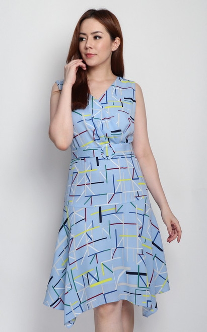 Matchstick Print Dress - Blue