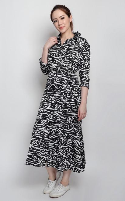 Monochrome Midi Shirt Dress