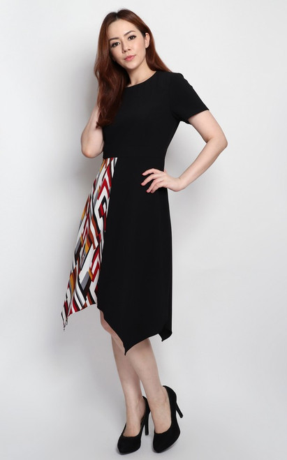 Contrast Handkerchief Hem Dress