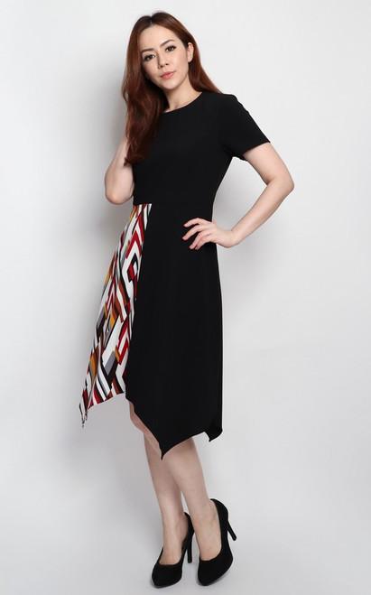 Contrast Handkerchief Hem Dress