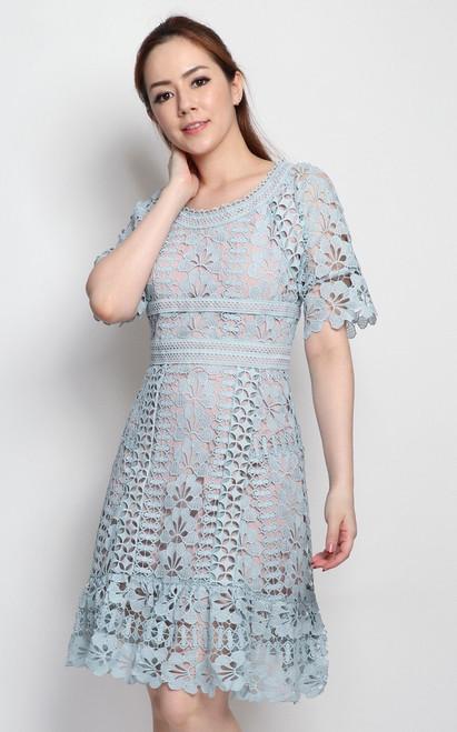 Guipure Lace Dress - Dusty Blue