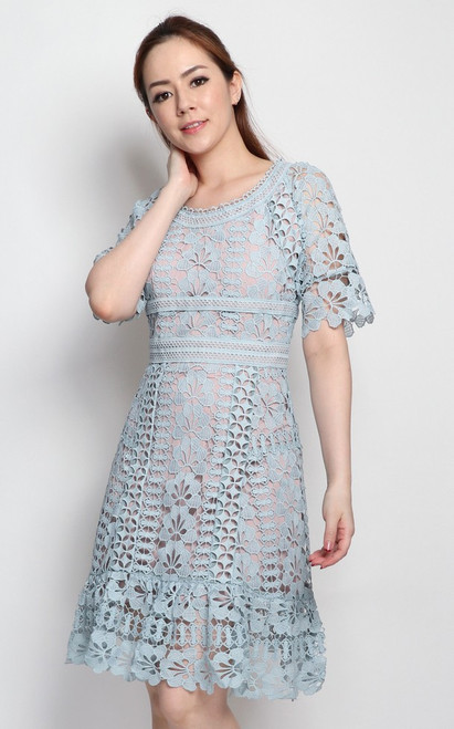 Guipure Lace Dress - Dusty Blue
