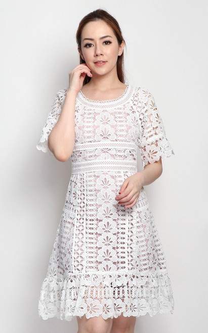 Guipure Lace Dress - White