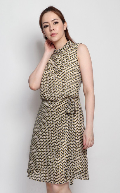 Printed Blouson Dress - Yellow