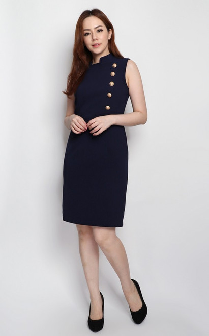 Gold Buttons Pencil Dress - Navy