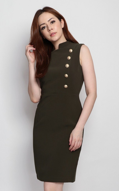 Gold Buttons Pencil Dress - Olive