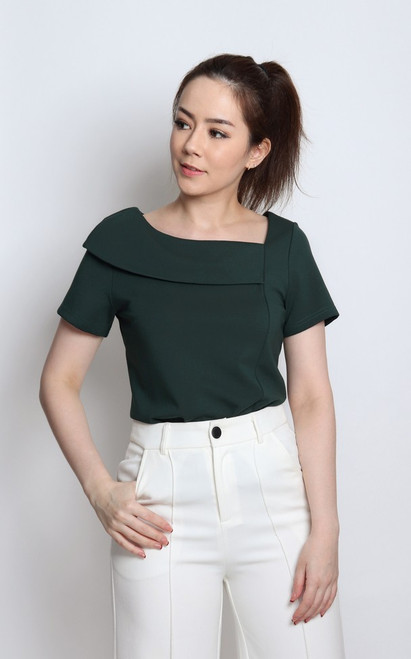 Asymmetrical Boatneck Top - Forest Green