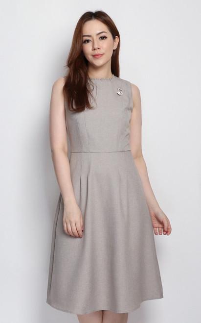 Frayed Neckline Dress