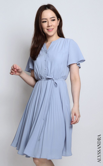 Pleated Dress - Dusty Blue