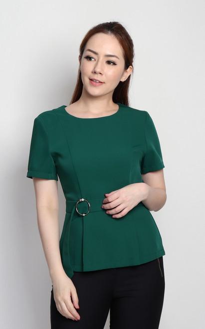 Side Buckle Peplum Top - Emerald