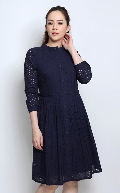Eyelet Pleated Dress - Navy