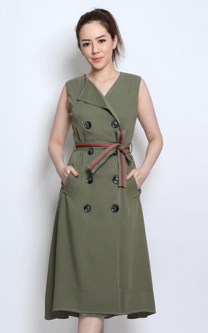 Dip Hem Tux Dress - Sage