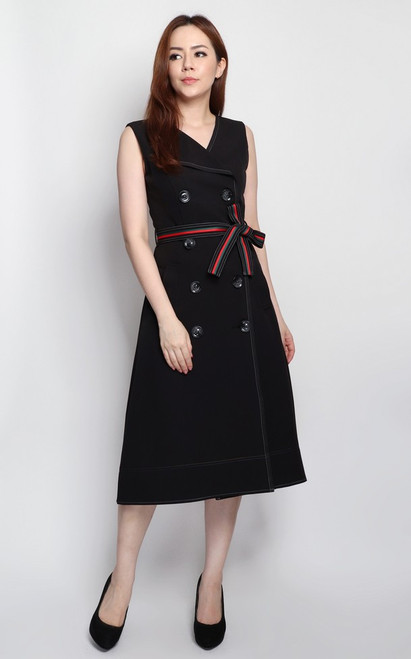 Dip Hem Trench Dress - Black