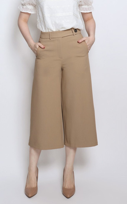 Contrast Stitch Culottes - Khaki